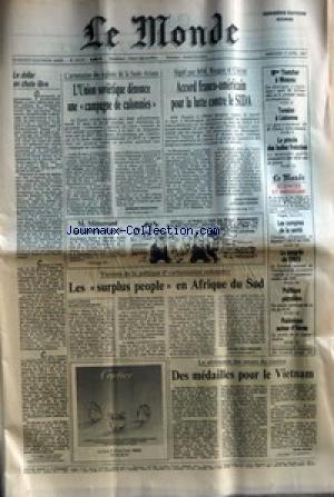 MONDE (LE) [No 13117] du 01/04/1987 - L'UNION SOVIETIQUE DENONCE UNE CAMPAGNE DE CALOMNIES ACCORD FRANCO-AMERICAIN POUR LA LUTTE CONTRE LE SIDA LES SURPLUS PEOPLE EN AFRIQUE DU SUD MME THATCHER A MOSCOU