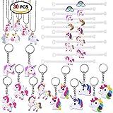 Konsait Unicorno portachiavi keychain (12pezzi) Braccialetti slap Unicorno gomma bracciale (12pezzi) Unicorn Collane (6pezzi ) per bambine ragazze regalo festa compleanno Bomboniere bambini giocattoli