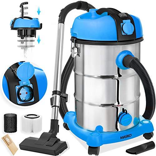 MASKO® - Aspiradora industrial (mojada, seca, acero inoxidable, 1800 W, con enchufe) Función de soplado. Aspirador en seco y húmedo. Aspiradora industrial con y sin bolsa, Azul 1800.00W