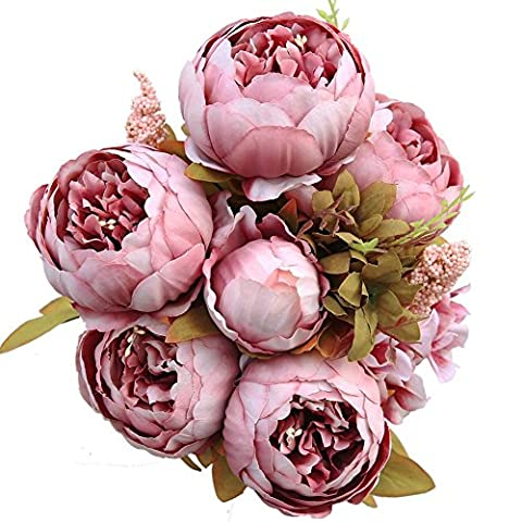 Luyue Vintage Artificial Peonies Silk Flowers Bouquet Home Wedding Decoration (Cameo Brown)