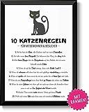 10 witzige Katzenregeln - Bild mit Rahmen - Hausordnung für Besucher Geschenk Geschenkidee Katzenliebhaber Geburtstag Weihnachten Einzug