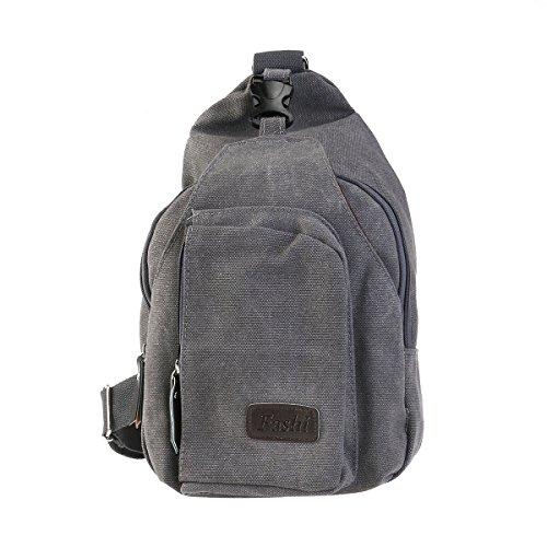 luoem Herren Outdoor Sports Casual Radtasche Schultertasche Crossbody Sling Brust-Tasche Premium (grau)
