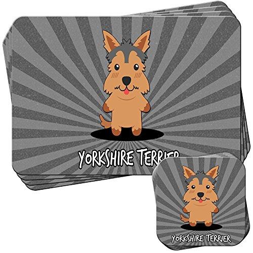 English Cartoon cani set di 4tovagliette e sottobicchieri, Acrilico, Yorkshire Terrier, Yorkie, 4 Placemats & (Yorkshire Terrier Coaster)