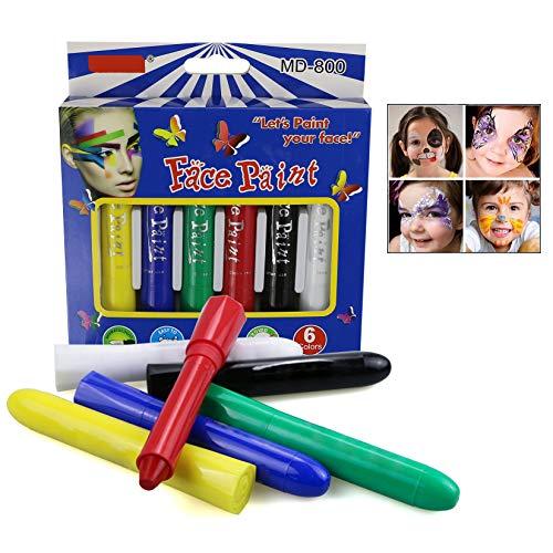LHKJ 6 Farben Gesicht Malen Buntstifte, Ungiftig Körperbemalung Sticks Körper Tattoo set Buntstifte Kit für Kinder Cosplay/Partys