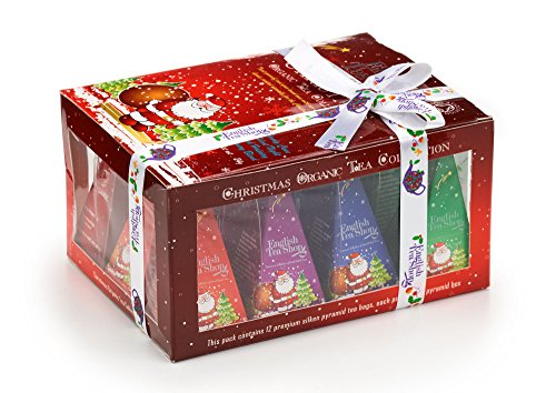 English Tea Shop Organic Red Santa Christmas Prism (Pack of 3, Total 36 Tea Bags)
