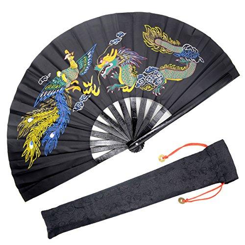 OMyTea - Ventilador plegable de mano grande. ventilador de mano Kung Fu Tai Chi chino/japonés para hombre o mujer, ideal para decoración, baile, lucha o regalo
