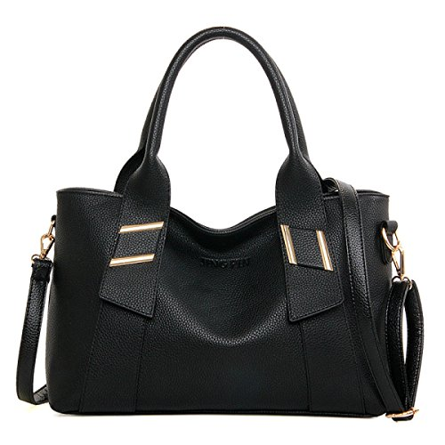 ZPFME Womens Tote Handtasche Mode Umhängetasche Multifunktion Shopper Leder Party Retro Bankett Black