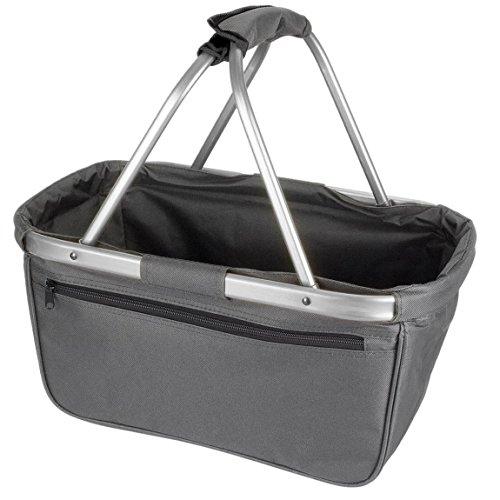 noorsk Einkaufskorb faltbar aus Stoff toll als Faltkorb Einkaufstasche oder Picknickkorb - Grau