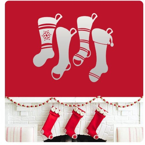 Wandaufkleber Wall Sticker quotes 4 Christmas Stockings Wall Decal Sticker Art Mural Home Decor Quote