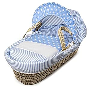 Blue Spots & Stripes Moses Basket Dressings only(Basket not included)   10
