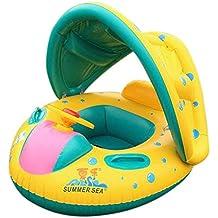 Goodid Flotador para bebé con asiento,respaldo,techo del sol,barca bebé de piscina