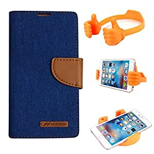 Aart Fancy Wallet Dairy Jeans Flip Case Cover for MotorolaMotoE2 (Blue) + Flexible Portable Mount Cradle Thumb OK Designed Stand Holder By Aart Store.