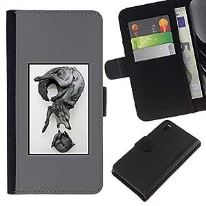 Stuss Case / Lederhülle Leder schützt - Wolf Zusammenfassung - Sony Xperia Z3 D6603