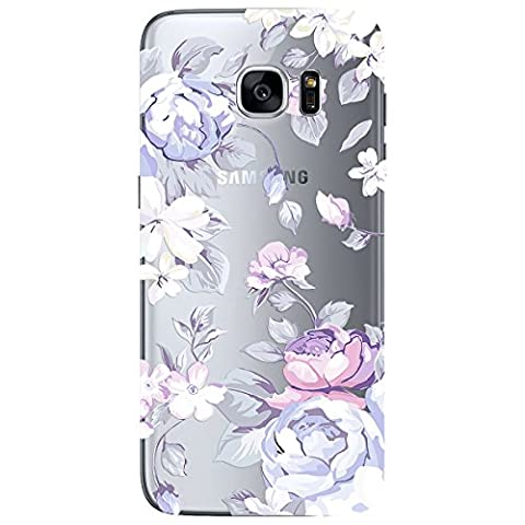 We Love Case for Samsung Galaxy S7 Edge, Premium 2 in 1 PC Hard Back TPU Silicone Soft Edge Floral Pattern Design Cute Clear Cover, Plastic Transparent Protective Shock Absorption Proof Drop Defend Anti Scratch Shell for Samsung Galaxy S7 Edge - White Big Peony