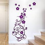 Grandora W825 Wandtattoo Blumenranke I violett 132 x 58 cm I Blumen Blüten Flur Diele selbstklebend Aufkleber Wandaufkleber Wandsticker