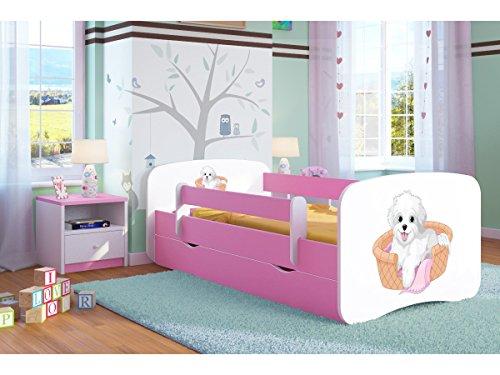 Kocot Kids Kinderbett Jugendbett 70x140 80x160 80x180 Rosa mit Rausfallschutz Matratze Schublade und Lattenrost Kinderbetten für Mädchen - Kleiner Hund 180 cm (Mädchen Kleine Hund Bett)