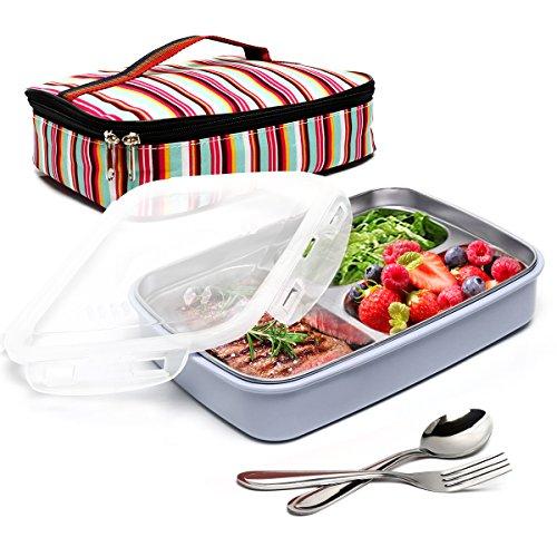 Boqun stainless steel Bento box rimovibile 3scomparti rettangolare lunch box a tenuta, contenitori per alimenti con borsa termica e forchetta cucchiaio kit microonde, lavabile in lavastoviglie. Blue