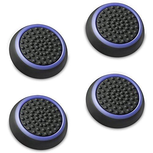 Fosmon a1669, set di 4 gommini per lo stick analogico del joystick, compatibili con ps4, ps3, xbox 360, wii u, nero/blu