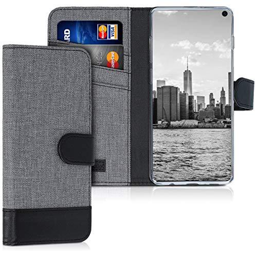 kwmobile Samsung Galaxy S10 Hülle - Kunstleder Wallet Case für Samsung Galaxy S10 mit Kartenfächern & Stand - Grau Schwarz