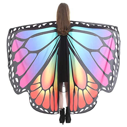 Zug Kostüm Drache - WOZOW Damen Schmetterling Schmetterlingsflügel Kostüm Faschingkostüme Schal Tuch Poncho Umhang für Party Cosplay Karneval Fasching (Mehrfarbig 3)