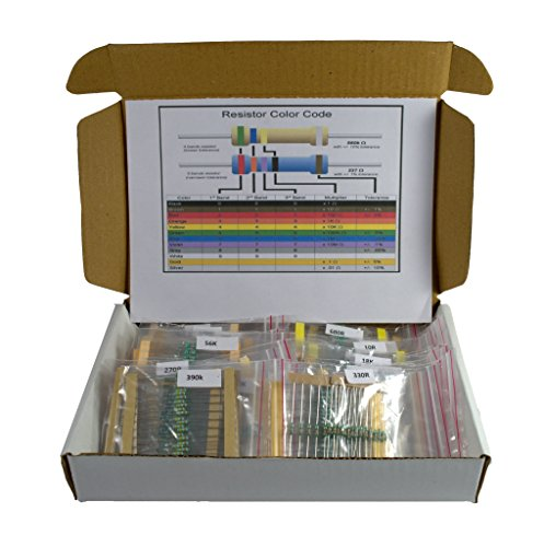 Electrobot 50 Value Resistor Kit (1 ohm - 1M ohm) Pack of 1000 .25 Watt 5% Tolerance