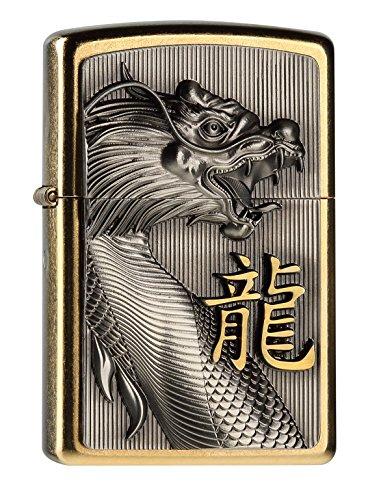 Zippo 2004517 G Golden Dragon Feuerzeug, Messing, Silber, one Size