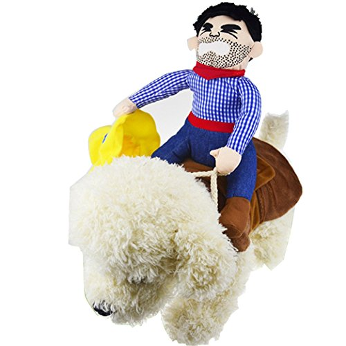 OLizee Handels, Pet Hund Halloween Cowboy Funny Kostüm Hund Riders Kleidung, S, Mehrfarbig
