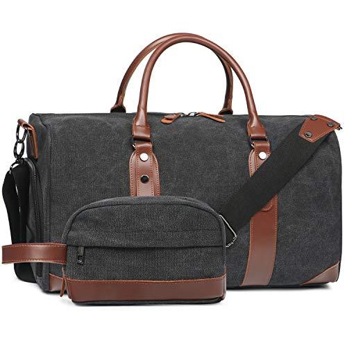 Oflamn Groß Reisetasche Damen Weekender Herren Segeltuch Handgepäck mit Schuhfach, Toiletbag Einschließen (schwarz)