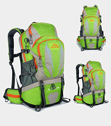 ucksack 50L wasserdicht Bergsteigen Rucksack Wandern reisen ritt Rucksack Multifunktions Outdoor Sports Pack Tasche H55 x L32 x T18 cm Green