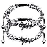 2 Packung Starfish Fußkettchen Fußkette Armbänder mit Metallketten für Damen