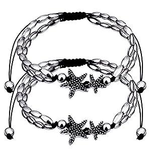 2 Packung Starfish Fußkettchen Fußkette Armbänder mit Metallketten für Damen Sommer Barefoot Beach Fußkettchen