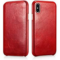 SLEO Funda para iPhone XS MAX, Carcasa con Tapa Cuero Interior Ultra Slim Flip Folio