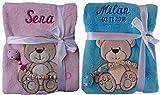 Babydecke mit Namen bestickt + Schnullerkette, Geschenk Baby Taufe Geburt (rosa)