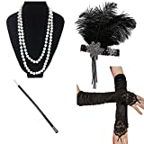 iLoveCos 20 Jahre Accessoires Flapper Set Stirnband Perlen Halskette Lange Schwarze Handschuhe Zigarettenspitze Gatsby Accessoires(N10)