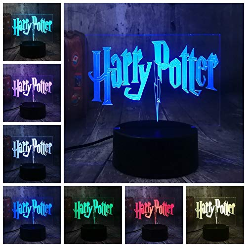 licht Film-Fans Harri Potter 3D Led 7 Color Change Bedroom Lampe Home Decor Kind Kinder-Weihnachts-Halloween-Geschenk ()