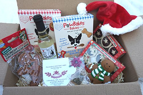 CHRISTMAS DOG TEA PARTY GIFT HAMPER WITH DOG WINE TEA FESTIVE TREATS BAKING KITS HAT AND TOY