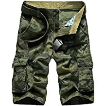 NiSeng Hombres Cargo Corto De Camuflaje Multi-Bolsillo De Gran Tamaño Sueltos Pantalones Cortos De Algodón De Militares Shorts