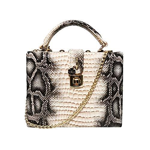 WSW Wunderschön Damen Geprägte Python Print Bankett Handtasche PU Leder Abendtasche Schulter Schräg Box Typ Tasche (Farbe : Natural) - Python-leder-schulter-handtasche
