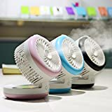 Table Fan, KING DO WAY 4 Mode Mini Fans/Personal Fan/Portable Fan - Misting Cooling Spray Fan - Easy To Carry for the Office , Home , Dorm , Study , Library , Games Outdoor Travel Blue