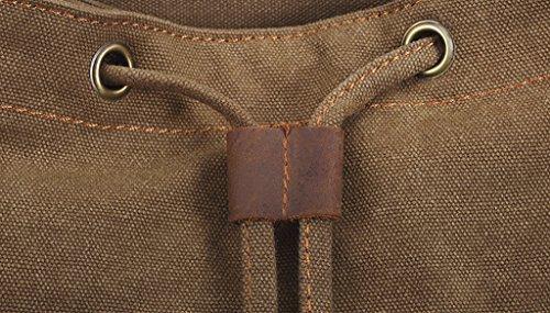 Vintage Rucksack Schulranzen aus Canvas Retro Schulrucksack Sports Rucksack Uni Rucksack für Outdoor Schule Campus Damen Herren Schwarz von FakeFace Khaki