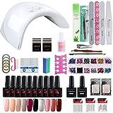 Coscelia Nail arte kit 10pc Smalto semipermanente gel per ricostruire le unghie con 36W fornetto UV/LED e gli strumenti completo
