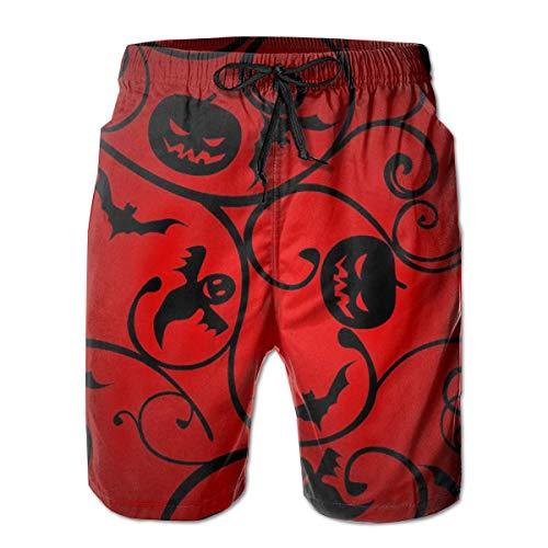 DLing Herren Badehose Halloween Pattern Wallpaper Hintergrund Quick Dry Beach Board Shorts,XXL