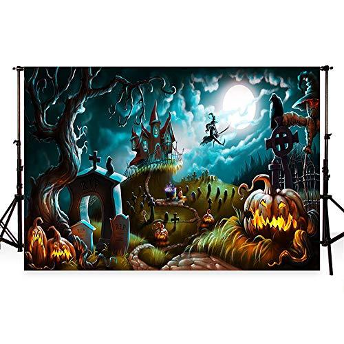 WaW 3x2m Halloween Hintergrund Fotografie Hintergrund Halloween Kulisse für Fotografie Weiße Mond Nacht Photocall Bakcground für Kids Halloween Party Studio Fotos 10x6.5ft