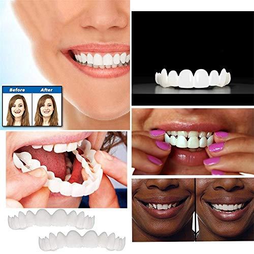 GFYWZZ 2 Stück Hosenträger Sofortig Furniere Zahnersatz Falsche Zähne Lächeln Gezähnt Prothese Zähne Oben und unten Komfort fit Biegen Zahnpfanne weiß Zahn schön ordentlich zu Machen