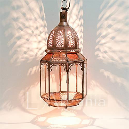 Lampada marocchina - Tammin trasparente e ambra - Lanterna - Dimensioni H55 X 24 cm