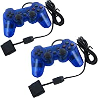 YUMQUA 2 X Dual Shock Wired Game Controller Joypad Pad for Sony PS2 Playstation 2 Blue