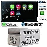 Toyota Corolla E12/120 - Autoradio Radio Pioneer SPH-DA120 - 2DIN USB Bluetooth Apple CarPlay Einbauzubehör - Einbauset