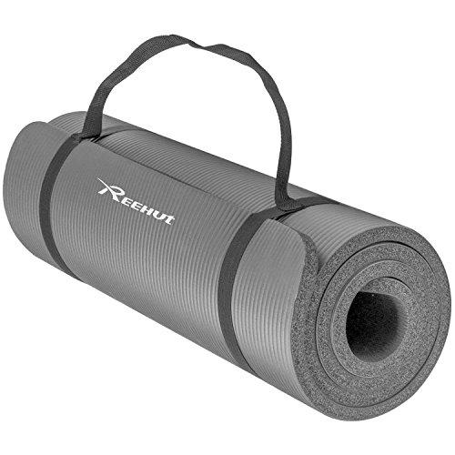 REEHUT Colchoneta de Yoga de NBR de Alta Densidad y Extra Gruesa de 15mm Diseñada para Pilates, Fitness y Entrenamiento/Correa Portátil(Gris)
