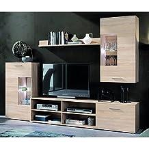 Mueble Salón en roble natural completo con cajonera, vitrina y baldas,