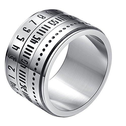 HIJONES Herren Edelstahl 14mm Breite Arabische Ziffer Spinner Ring Band Silber Ton Größe 68 Herren Silber Ring Größe 14